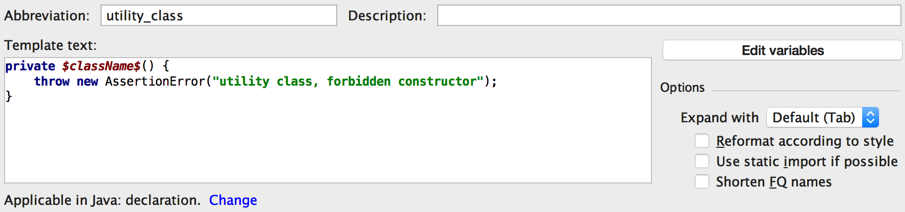 Live templates in IntelliJ are awesome